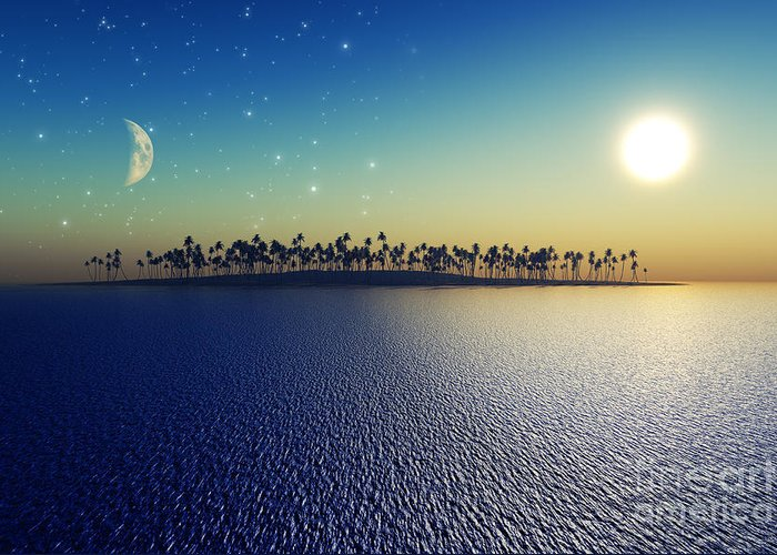 Ocean. Reflection Digital Art Greeting Cards