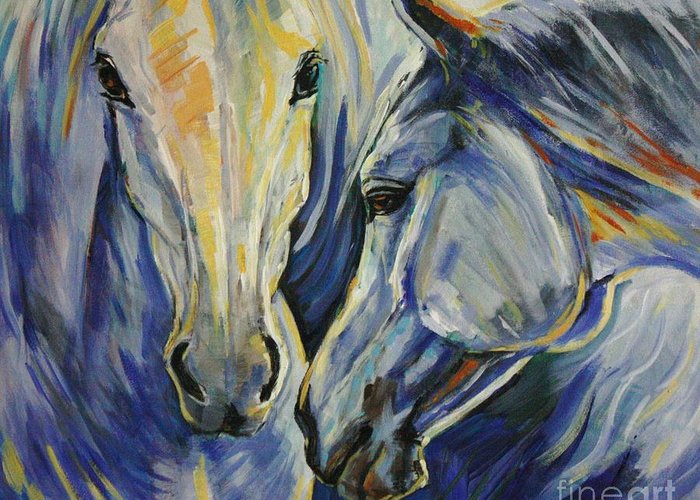 Horses Greeting Card featuring the painting Sun And Sea by Silvana Gabudean Dobre