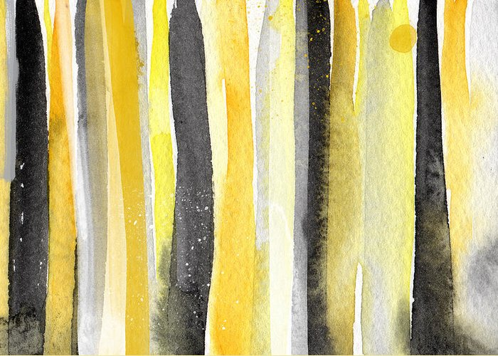 Abstract Yellow And Grey Painting Greeting Card featuring the painting Sun And Shadows- Abstract Painting by Linda Woods