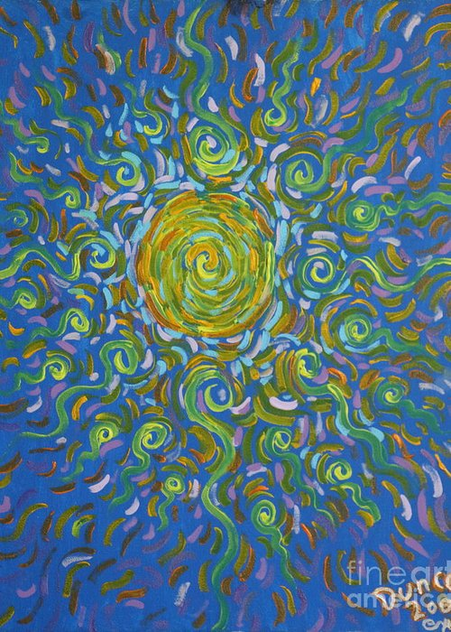 Abstract Greeting Card featuring the painting Sun Burst Of Squiggles by Stefan Duncan