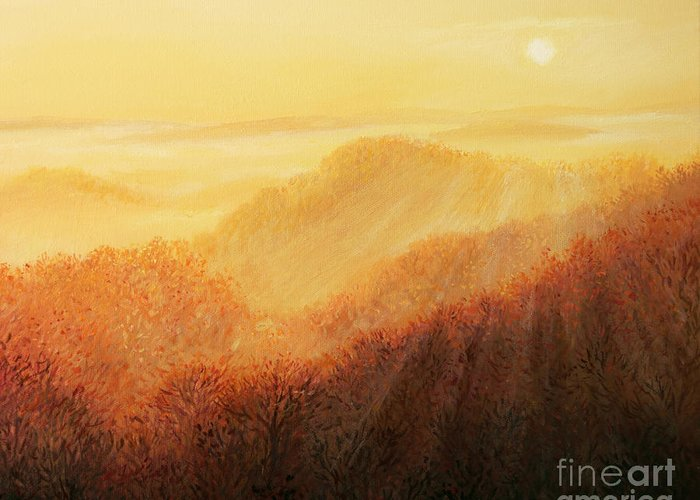 Fog Greeting Card featuring the painting Sun Caress by Kiril Stanchev