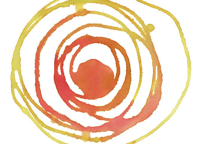 Watercolor Painting Greeting Card featuring the digital art Sun Circle Abstract Water Color Paint by 4khz