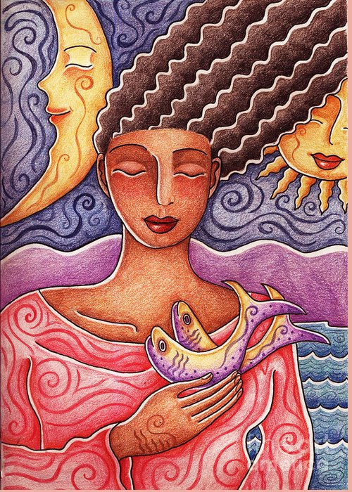 Woman Greeting Card featuring the drawing Sun Fish Moon by Elaine Jackson