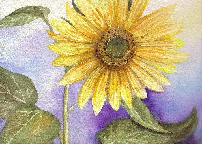 Bonnie Greeting Card featuring the painting Sun Flower by Bonnie Fernandez