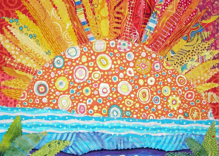 Sunrise Greeting Card featuring the tapestry - textile Sun Glory by Susan Rienzo