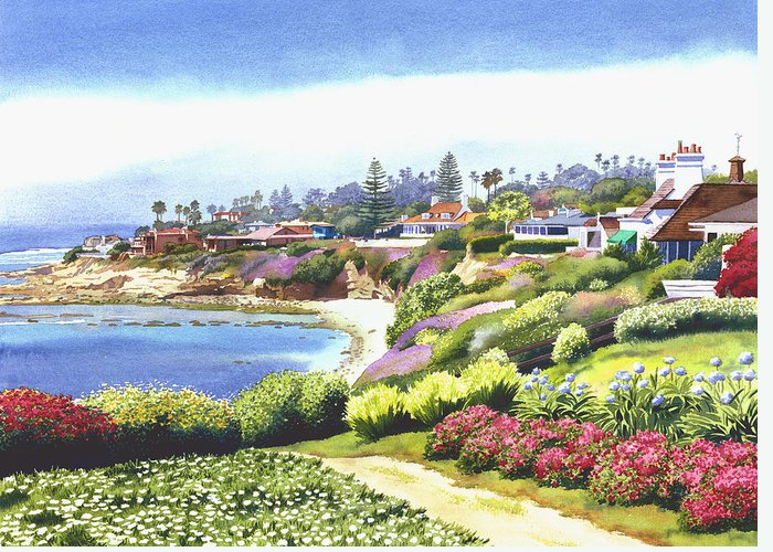 Sun Gold Point Greeting Card featuring the painting Sun Gold Point La Jolla by Mary Helmreich