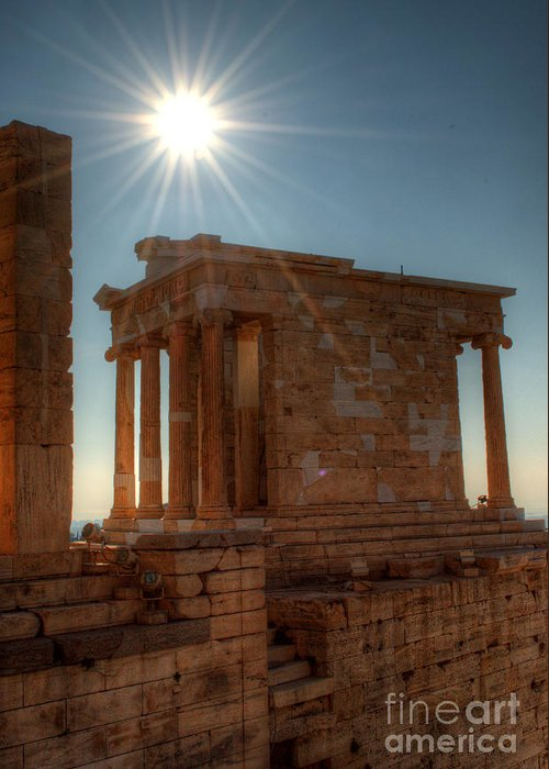 Greece Greeting Card featuring the photograph Sun Over Athena Nike Temple by Deborah Smolinske