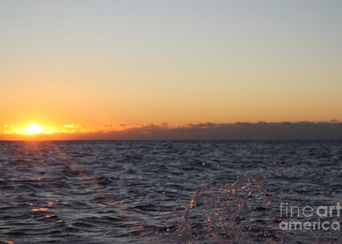 Sun Rising Through Clouds In Rough Waters Greeting Card featuring the photograph Sun Rising Through Clouds In Rough Waters by John Telfer