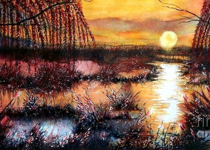 Reflection Of Sun In Clouds Paintings Greeting Cards