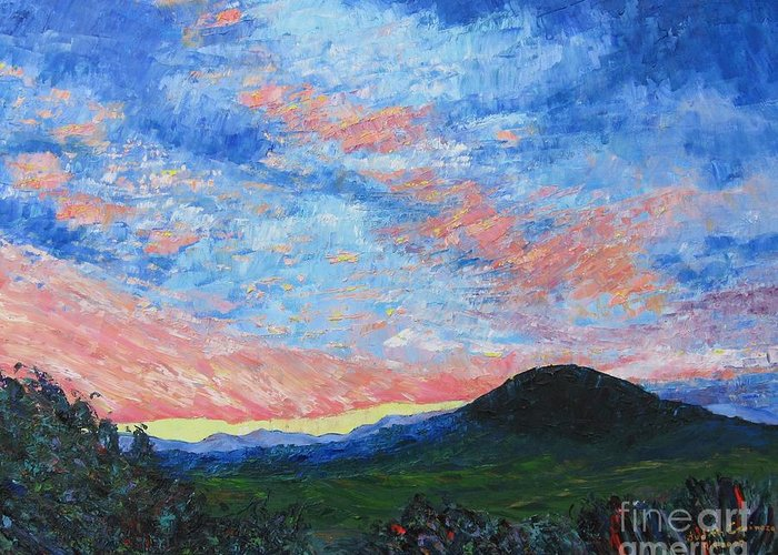 Landscape Greeting Card featuring the painting Sun Setting Over Mole Hill - Sold by Judith Espinoza