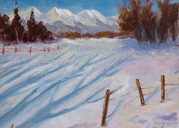 Oil Painting Greeting Card featuring the painting Sun Snow And Shadows by Nancy Angelini Crawford