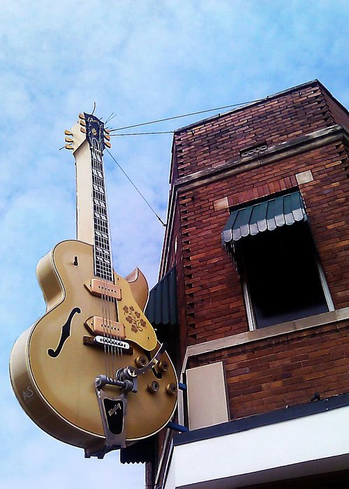 Guitar Greeting Card featuring the photograph Sun Studio Entrance by Suzanne Barber
