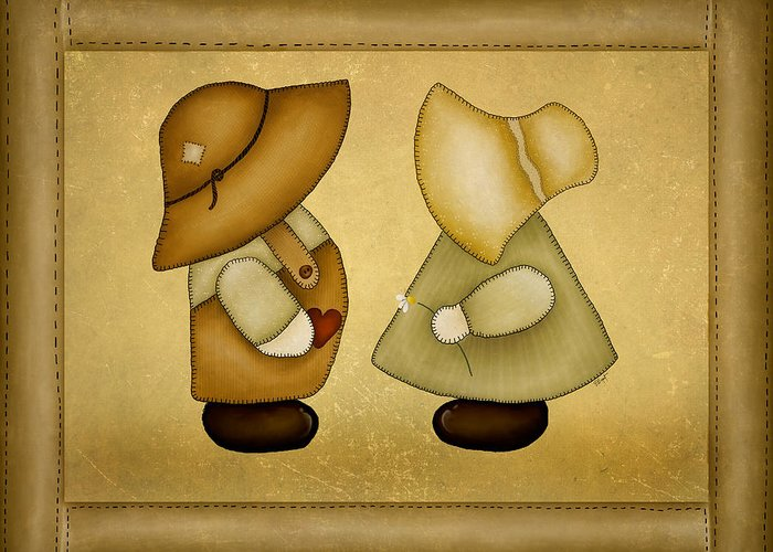 Sunbonnet Sue Greeting Card featuring the painting Sunbonnet Sue And Overall Sam by Brenda Bryant