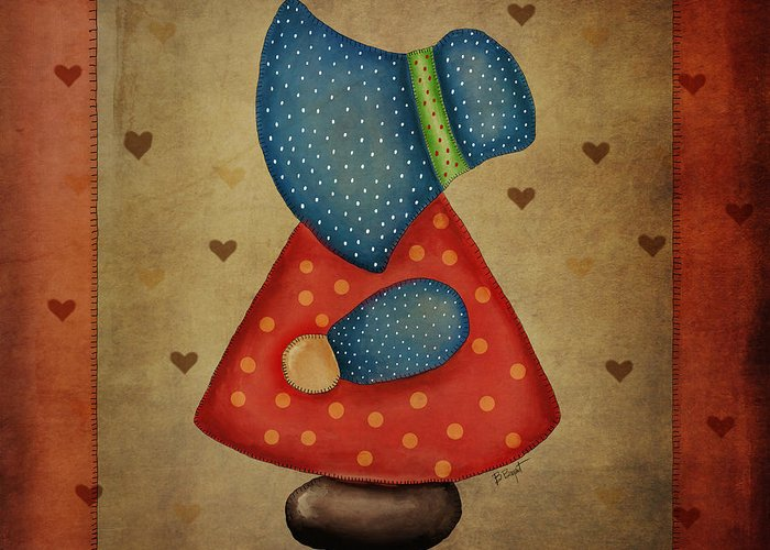 Sunbonnet Sue Greeting Card featuring the digital art Sunbonnet Sue In Red And Blue by Brenda Bryant