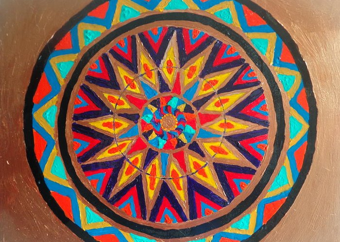 Mandala Greeting Card featuring the painting Sunburst by Amy Hassan