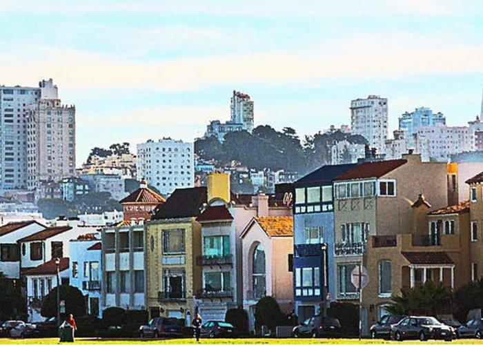 Fort Mason San Francisco Ca Greeting Card featuring the painting Sunday At Marina Green Park Fort Mason San Francisco Ca by Artist and Photographer Laura Wrede