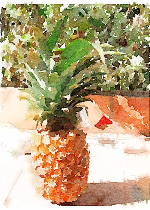 Pineapple Greeting Card featuring the digital art Sunday Brunch by Shannon Grissom