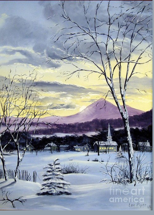 Maine Greeting Card featuring the painting Sunday In Winter by Lee Piper
