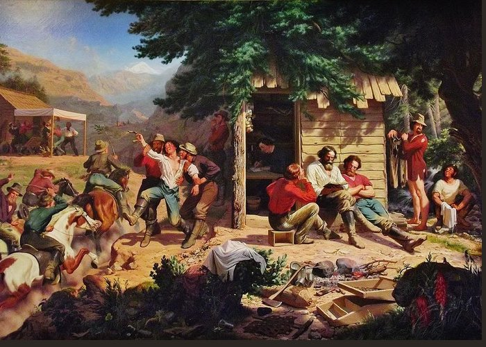 Charles Nahl Greeting Card featuring the digital art Sunday Morning In The Mines by Charles Nahl