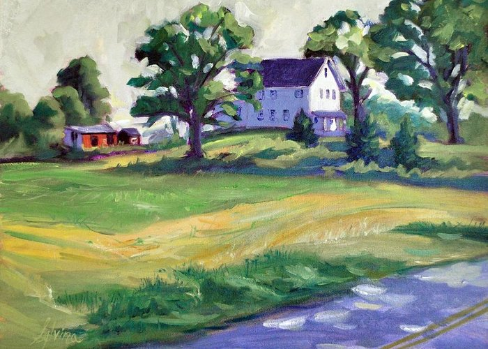 The Wasniewski Farm Greeting Card featuring the painting Sunday Morning by Sylvina Rollins