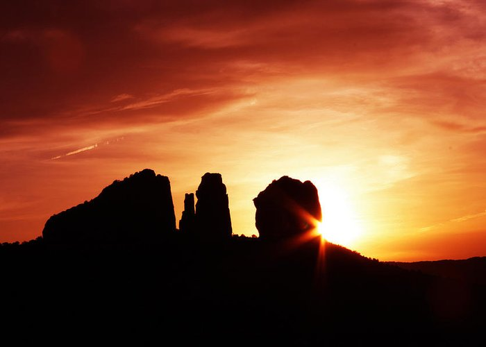 Cathedral Rock Greeting Card featuring the photograph Sundown At Cathedral by Tom Kelly