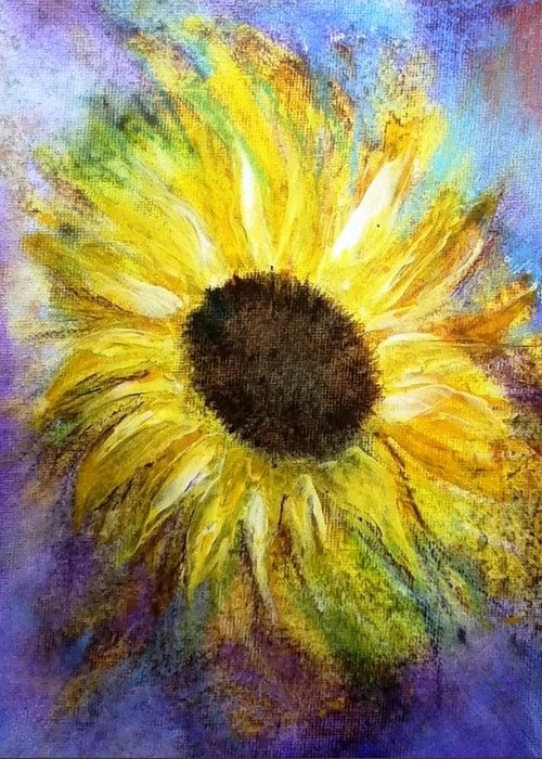 Blue Greeting Card featuring the painting Sunflower by Carol Rowland