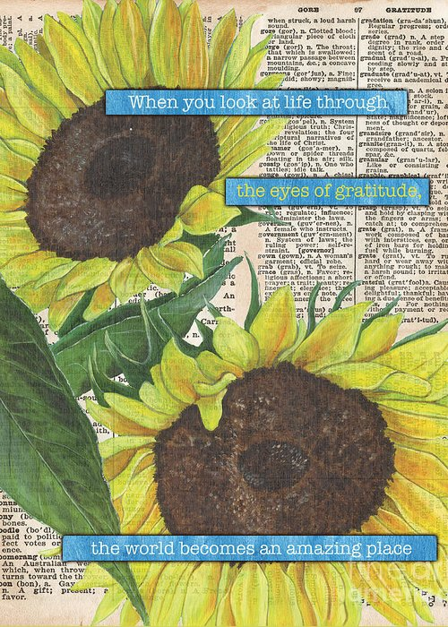 Floral Greeting Card featuring the painting Sunflower Dictionary 2 by Debbie DeWitt