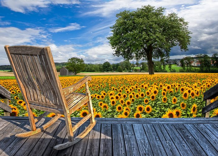 Austria Greeting Card featuring the photograph Sunflower Farm by Debra and Dave Vanderlaan