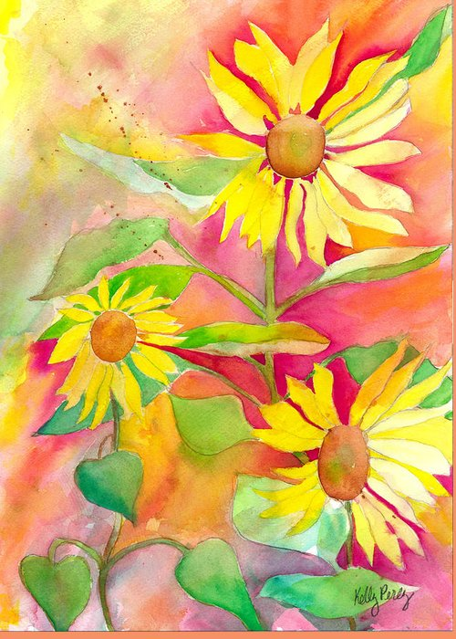 Abstracted Coneflowers Paintings Greeting Cards