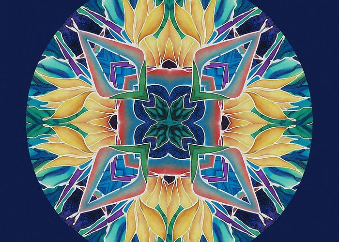 Mandala Greeting Card featuring the painting Sunflower Mandala by Francine Dufour Jones