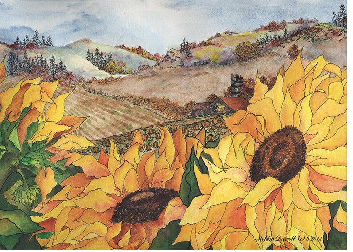 Sunflower Greeting Card featuring the painting Sunflower Serenity by Meldra Driscoll