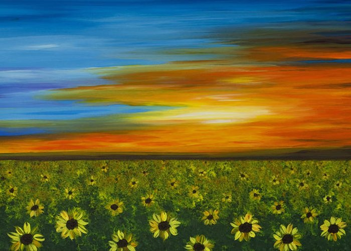 Sunflower Greeting Card featuring the painting Sunflower Sunset - Flower Art By Sharon Cummings by Sharon Cummings