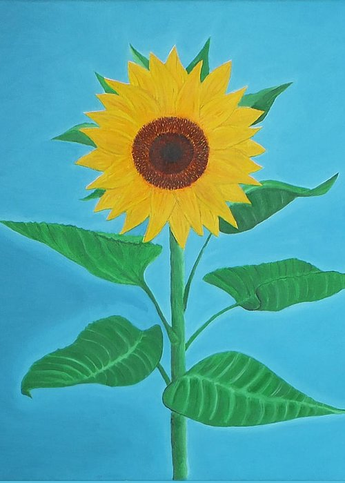 Sunflower Greeting Card featuring the painting Sunflower by Sven Fischer