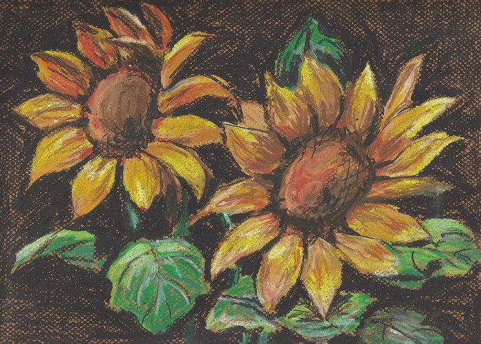 Greeting Card featuring the painting Sunflower3 by Hae Kim
