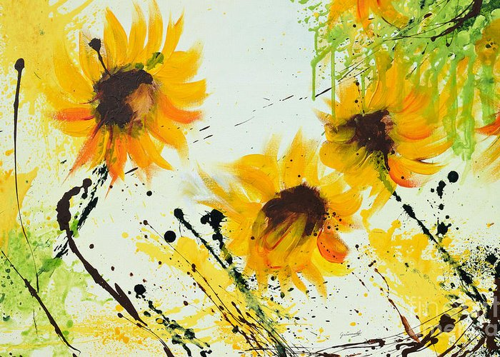 Sunflowers Greeting Card featuring the painting Sunflowers - Abstract Painting by Ismeta Gruenwald