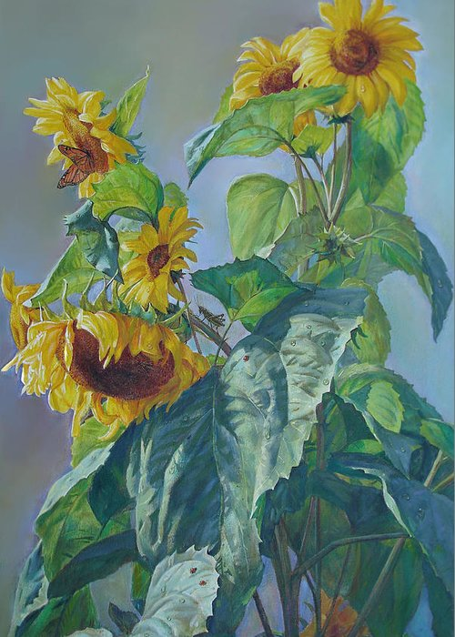 Sunflower Greeting Card featuring the painting Sunflowers After The Rain by Svitozar Nenyuk