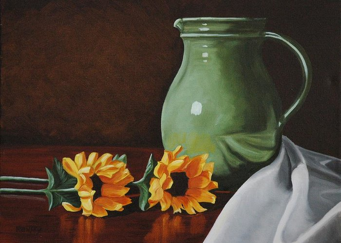Sunflower Greeting Card featuring the painting Sunflowers And Green Water Jug by Daniel Kansky