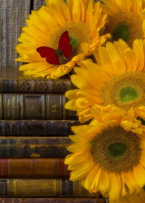 Sunflowers Greeting Card featuring the photograph Sunflowers And Old Books by Garry Gay