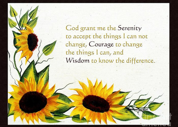 Barbara Griffin Greeting Card featuring the painting Sunflowers And Serenity Prayer by Barbara Griffin