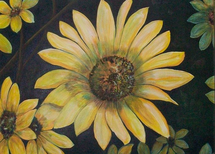 Sunflowers Greeting Card featuring the painting Sunflowers by Dixie Lee Hedrington