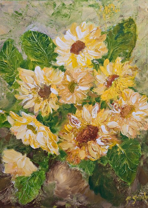 Sunflowers Greeting Card featuring the painting Sunflowers Forever by Jo Smoley