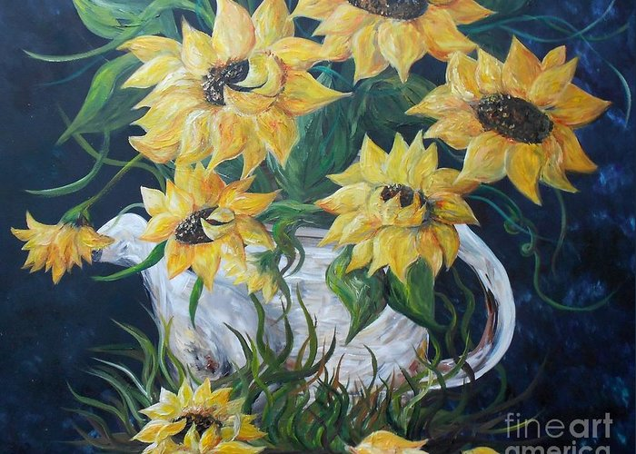 Sun Greeting Card featuring the painting Sunflowers In An Antique Country Pot by Eloise Schneider