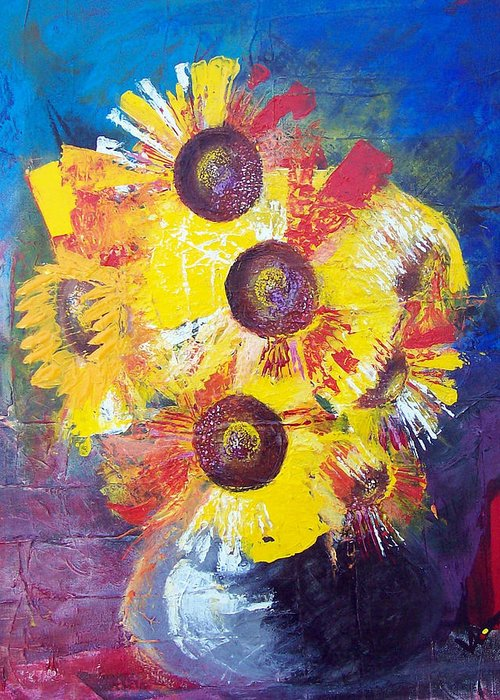 Flowers Greeting Card featuring the painting Sunflowers In Blue Vase by Valerie Wolf