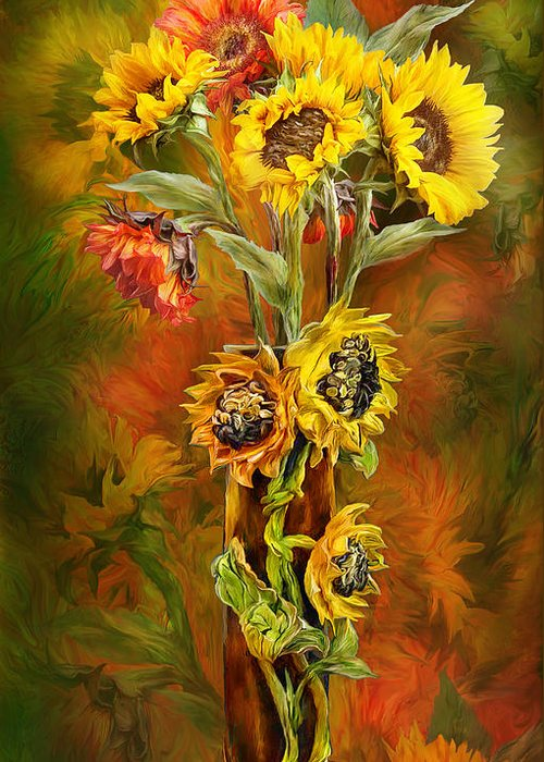 Sunflowers Greeting Card featuring the mixed media Sunflowers In Sunflower Vase by Carol Cavalaris
