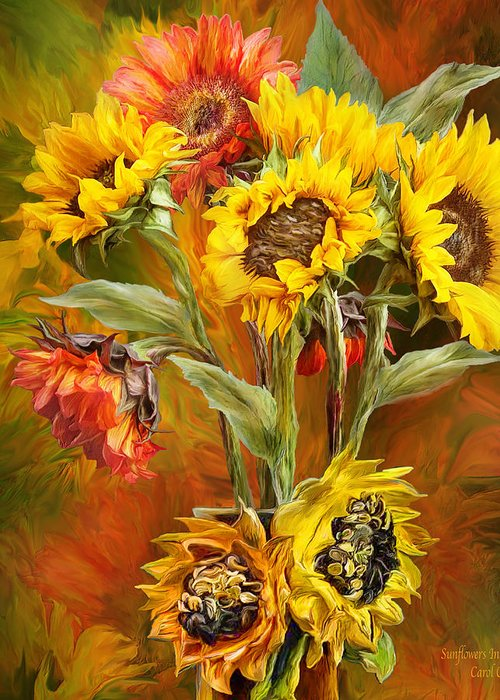 Sunflowers Greeting Card featuring the mixed media Sunflowers In Sunflower Vase - Square by Carol Cavalaris