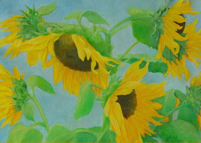 Sunflowers Greeting Card featuring the painting Sunflowers In The Wind 2 by K Joann Russell