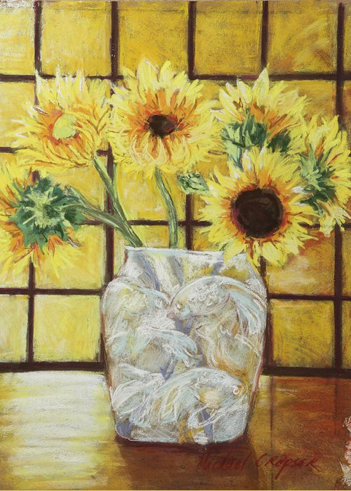 //flowers Greeting Card featuring the painting Sunflowers by Michael Crapser