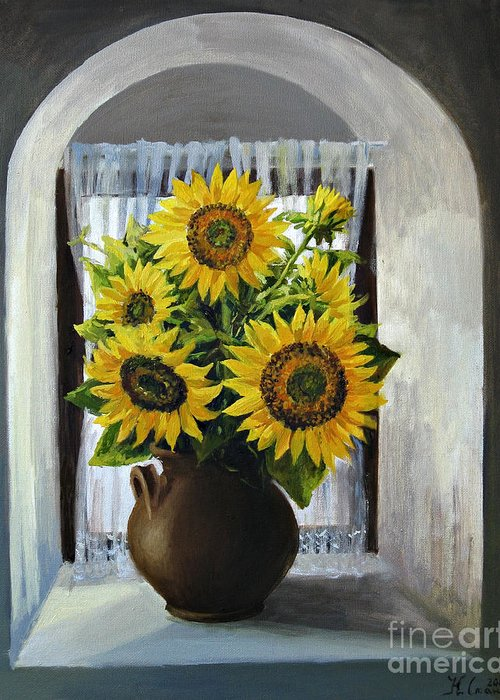 Arch Greeting Card featuring the painting Sunflowers On The Window by Kiril Stanchev