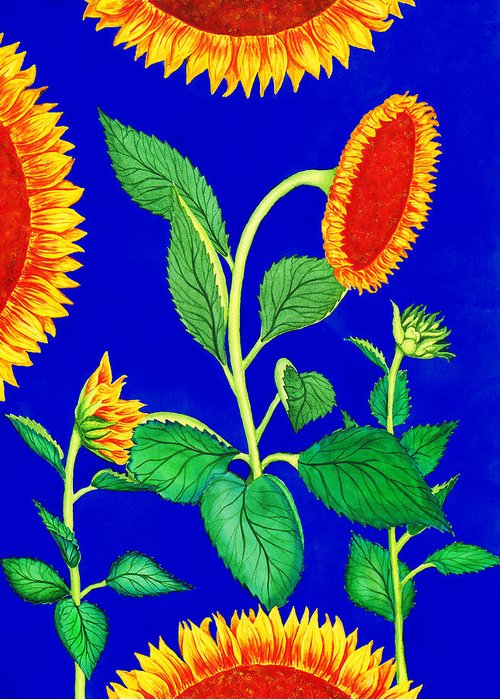 Sunflowers Greeting Card featuring the painting Sunflowers by Irina Sztukowski