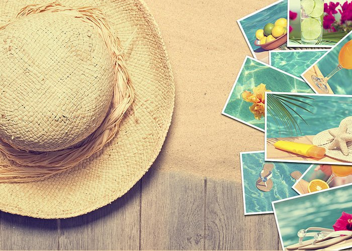 Sand Greeting Card featuring the photograph Sunhat And Postcards by Amanda Elwell
